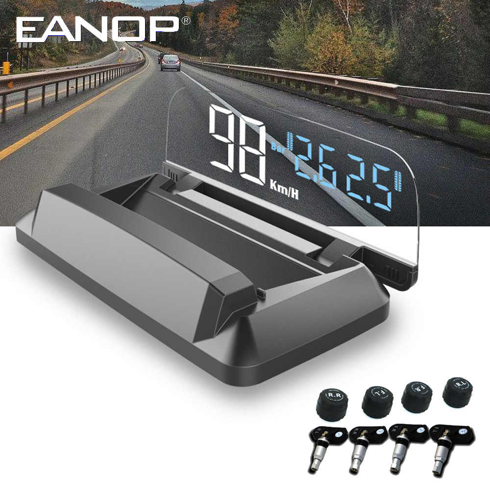 EANOP M50 2 in 1  Mirror HUD head up display OBD2 Speedometer Windshield Projector  with Tire pressure monitoring system TPMS