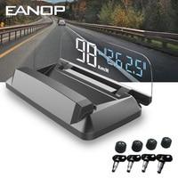 EANOP M50 TPMS Mirror HUD head up display OBD2 Speedometer Windshield Projector with Tire pressure sensors