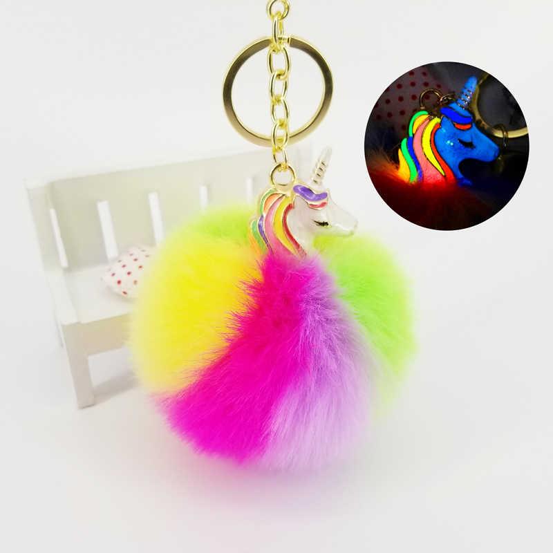 Unicórnio bola brilho bola anel chave do carro chaveiro imitação artificial cabelo macio saco das senhoras bonito jóias pingente
