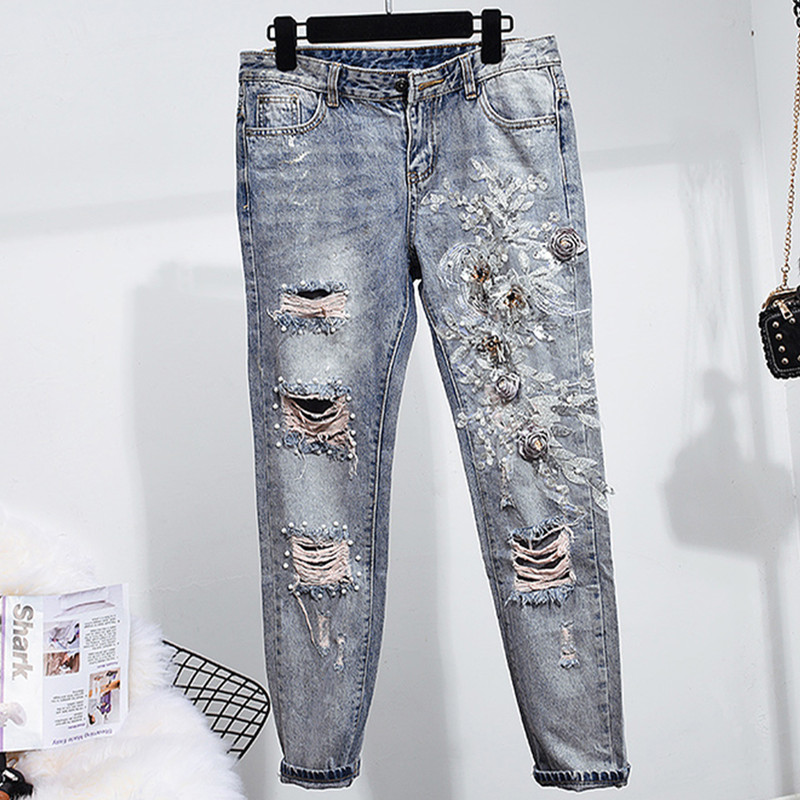 Guuzyuviz Vintage Casual Autumn Winter Jeans Woman Scratched Washed Cotton High Waist Patch Work Denim Pants Mujer Strong Packing Bottoms