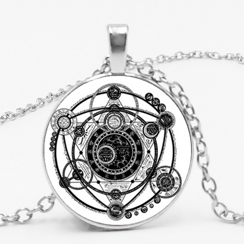 Sigil Magic Witchcraft Pendant Necklace Statement Trinket Silver Necklace Women 39 s Accessories Glass Dome Clips Jewelry in Pendant Necklaces from Jewelry amp Accessories