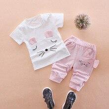Летние Детские комплекты одежды спортивные костюмы для маленьких девочек комплект одежды для детей, хлопковая Футболка с милым котиком+ повседневные шорты