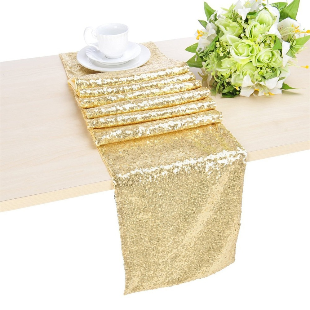 Light Gold 12x96inch Sequin Table Runner Mint Gold Sequin Table Runner-ay