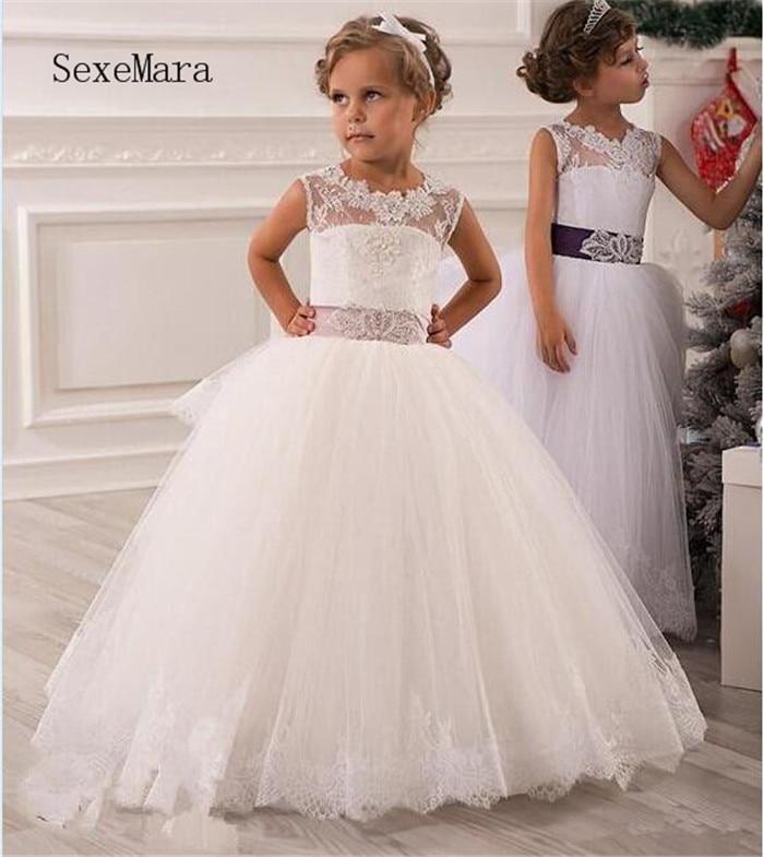 Flower Girl Dresses Jewel Neck Sash Lace Net Baby Girl Birthday Party Christmas Communion Dresses Children Girl Party Dresses