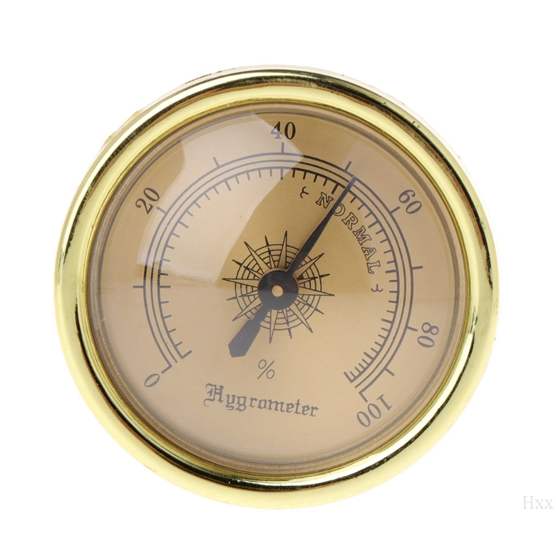 Cigar Smoking Measure Hygrometer Humidity Moisturizing 45mm Round Gold Measuring