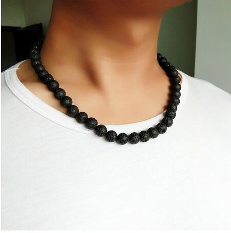 OAIITE Men Necklace 6mm 8mm Black Volcanic Lava Stone Choker Rock Beads Chains Necklace Men Jewelry Handmade collier Dropshippin