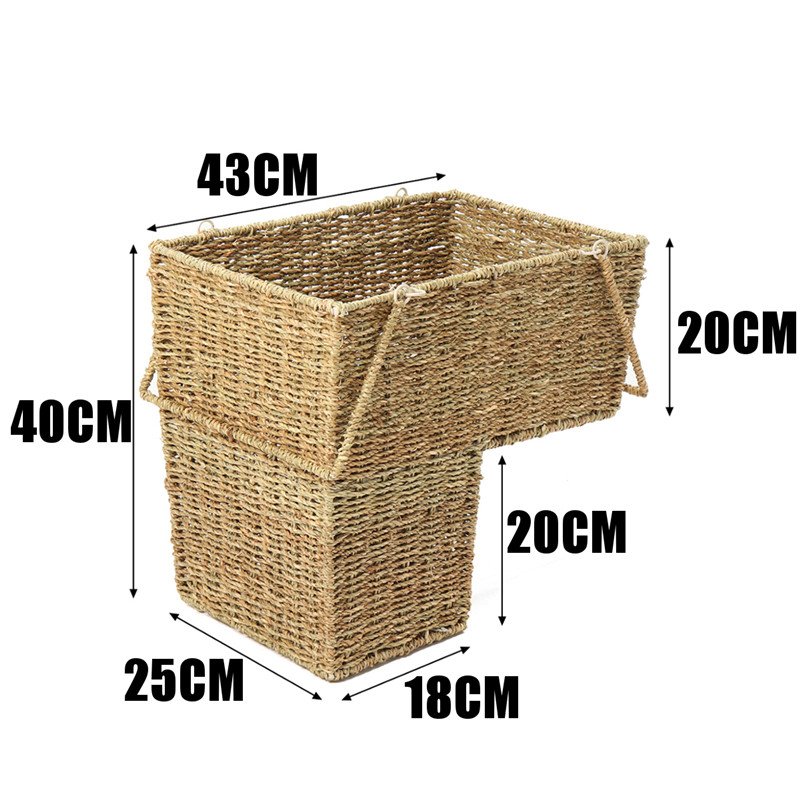 Woven Wicker Stair Basket Organizer Seagrass Stylish Cosmetic Box With  Handle Zakka Container Storage Clothes Children Toys Home In Storage Baskets  From ...