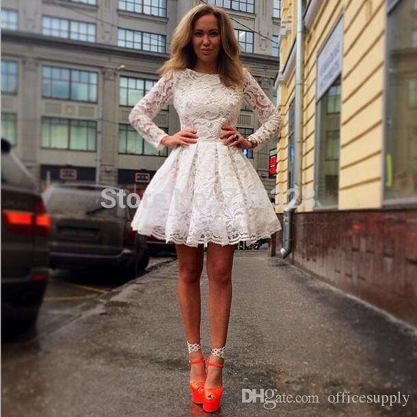 89ad8f6f1 Hot Sale 2016 A-line Long Sleeves Short Mini Ivory Lace Homecoming Dresses  Under 50
