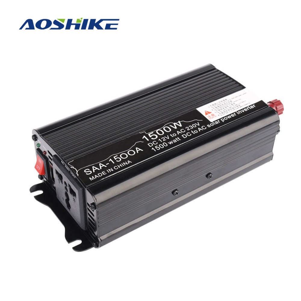 Aoshike 1500W Solar Power Car Inverter board 12V DC To 110V 220V AC Modified Sine Wave inversor Converter voltage transformer ...