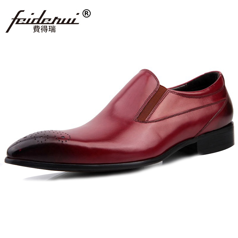 Italian Round Toe Breathable Man Casual Shoes Genuine Leather Male Slip on Party Loafers Designer Brand Wedding Men's Flats SF96 high end breathable men casual shoes loafers genuine leather lace up rubber handmade slip on sewing lazy shoes italian designer