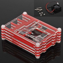 Original Clear Acrylic Case Shell Transparent Enclosure Box +Cooling Fan For Raspberry Pi 3 Model B Professional High Quality
