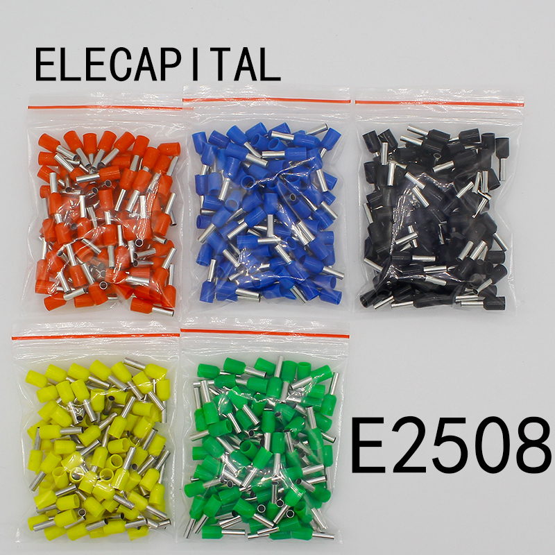E2508 Tube insulating terminals 2 5MM2 100PCS Pack Insulated Cable Wire Connector Insulating Crimp Terminal Connector