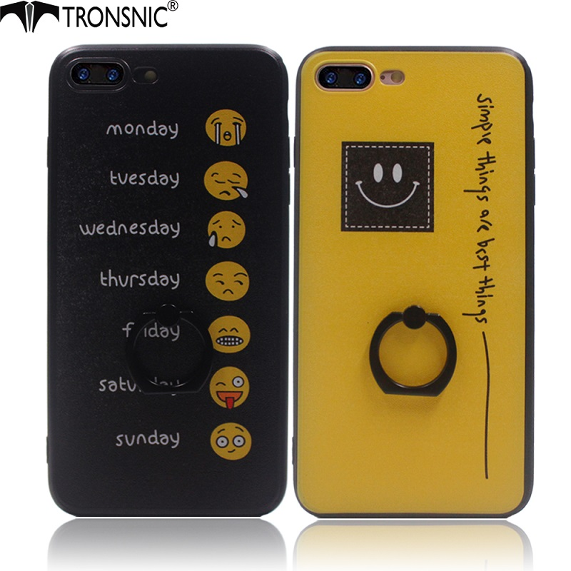 US $3 86 21% OFF|Tronsnic Buckle Ring Phone Case for iPhone 6 6s plus 7  plus Funny Monday to Sunday Weeks Emoji Smile Face Silk Hard Cover Grip-in