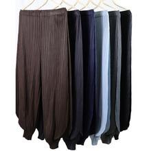 Plus Size Pants Women 2019 New Big Stretch Miyake Pleats Classical Lantern Loose Wide Leg Empire Waist Casual Trousers