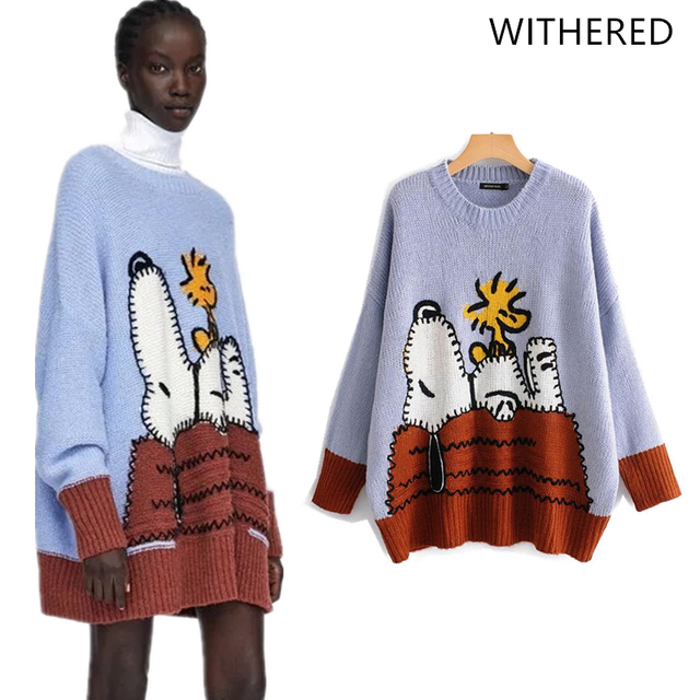 25e12da5553 Withered 2018 BTS women sweater england style cartoon snoopy panelled  o-neck regular fashion sweater women tops plus size 1016