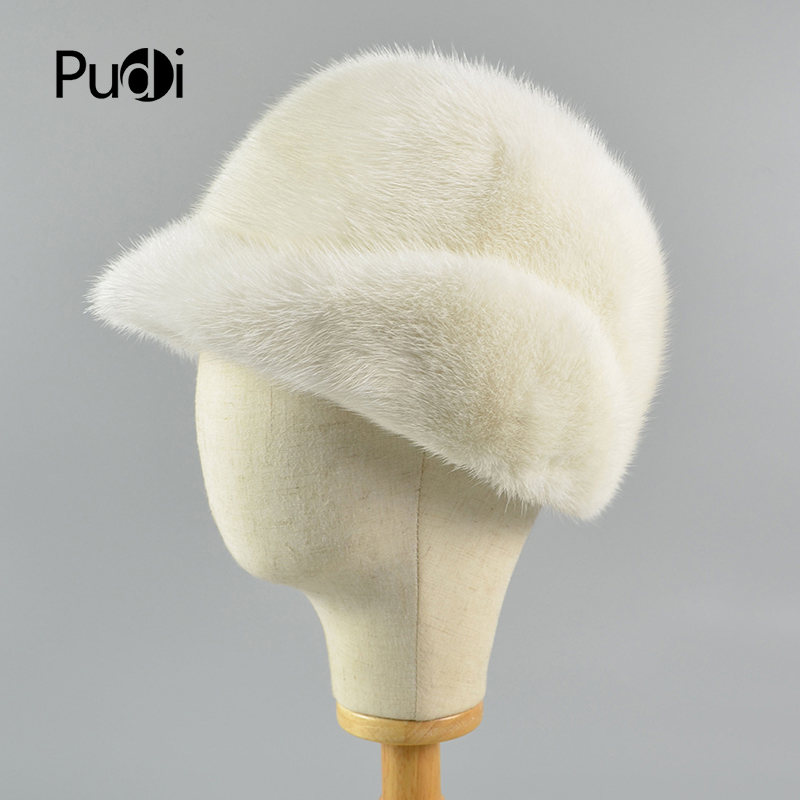 Pudi HF718 women mink fur hat Queenfur Real Whole Skin Mink Fur Hat Fur Beanie Women Warm Fur Cap cx c 128c hot sale fashion women mink fur wholesale woman mink fur women hat drop shipping