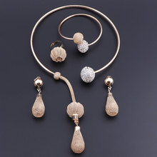 OEOEOS Fashion Dubai Gold Color Crystal Necklace Set African Beads Costume Acessories Bridal Wedding Jewelry Sets luxury dubai jewelry sets women crystal gold wedding accessories flower necklace wedding african beads jewelry set costume