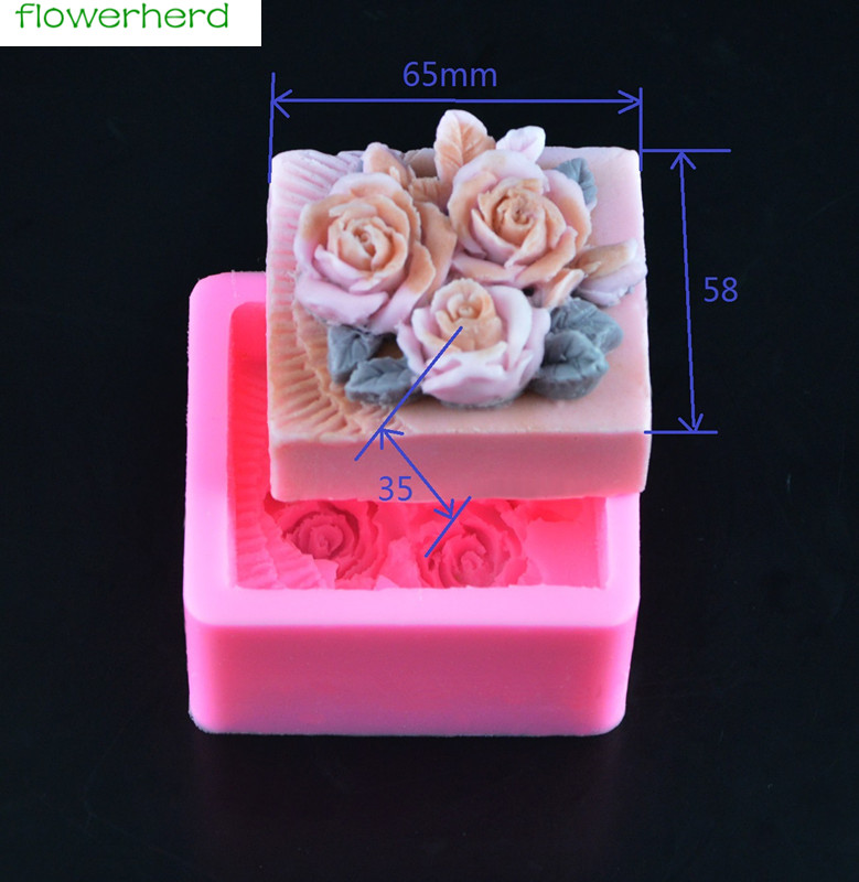 3D Rose Silicone Soap Mold Flower Chocolate Cake Mold Decorating Baking Silicone Molds
