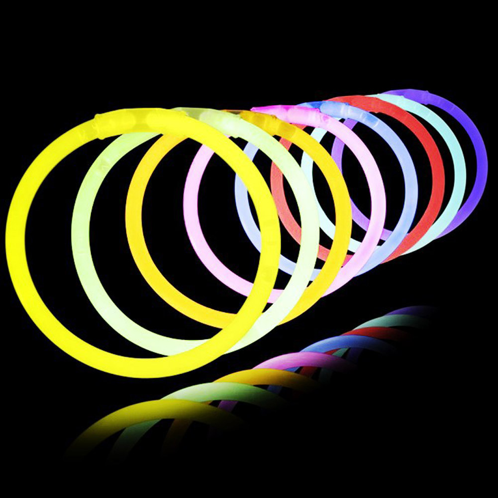 50/100Pcs With Connector Glow Sticks Bracelets Necklaces Party Fluorescent Neon Colors Xmas Wedding Christmas Decoration