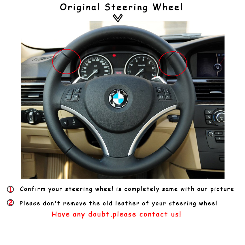Hand sewing custom Black Leather Red Marker Car Steering Wheel Cover for BMW E90 325i 330i 335i E87 120i 130i 120d in Steering Covers from Automobiles Motorcycles