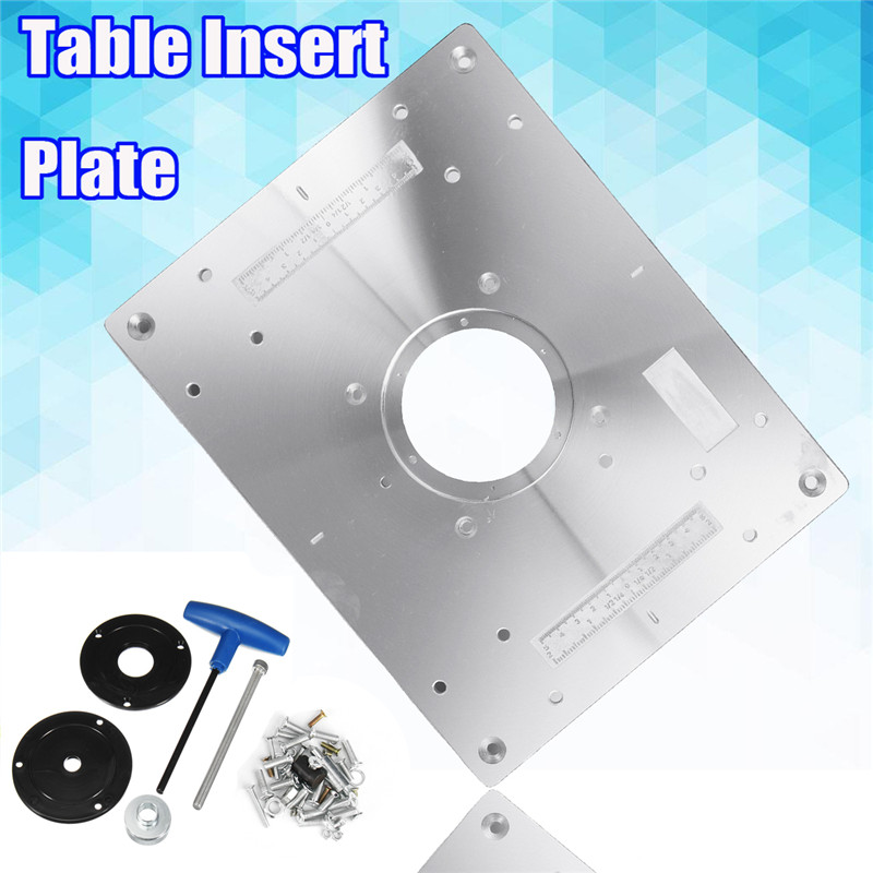 New 300*235mm Aluminum Router Table Insert Plate DIY Woodworking Benches For Popular Router Trimmers Models Engrving Machine