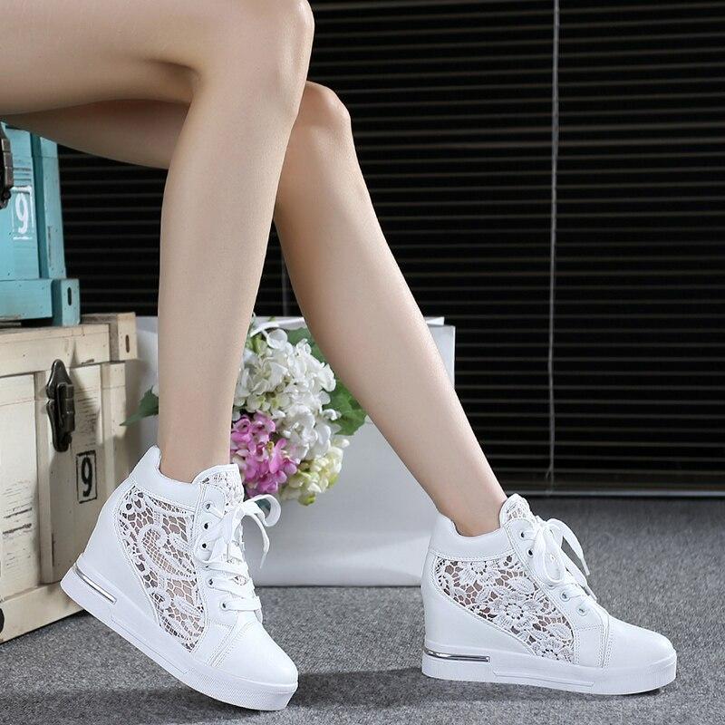 ฤดูร้อนรองเท้าผู้หญิงรองเท้าผู้หญิง Breathable ตาข่ายรองเท้าผ้าใบรองเท้าลูกไม้ Loafers หนารองเท้าส้...
