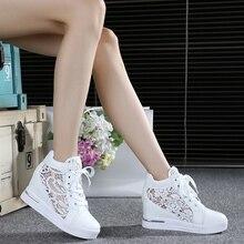 Letnie buty damskie oddychające siatkowe trampki mieszkania koronkowe mokasyny grube obcasy buty na koturnie Casual Comfort Creepers