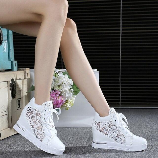 80f6dabf Letnie damskie buty kobieta oddychająca siatka trampki mieszkania Lace  mokasyny grube obcasy buty na koturnie komfort