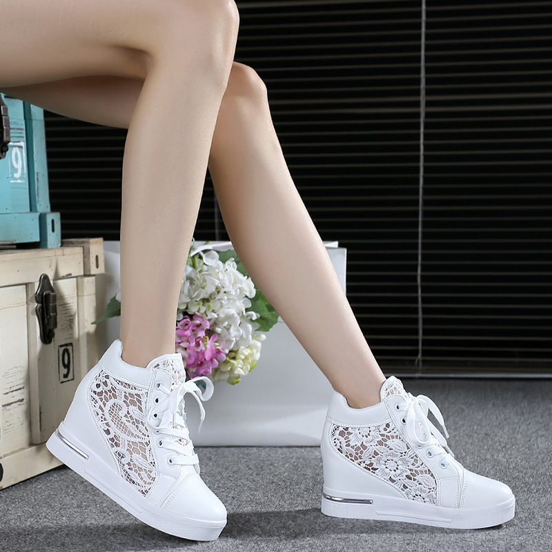 Summer Women Shoes Woman Breathable Mesh Sneakers Flats Lace Loafers Thick Heels Platform Wedges Casual Comfort Creepers