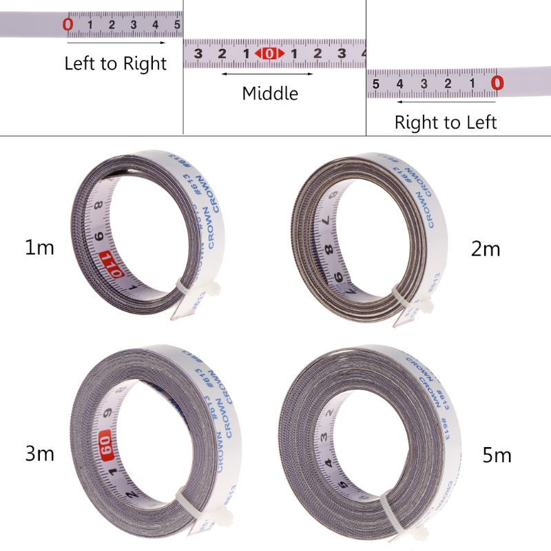 Miter Track Tape Measure Self Adhesive Metric Steel Ruler Miter Saw Scale For T-track Router Table Saw Band Track 1/2/3/5M