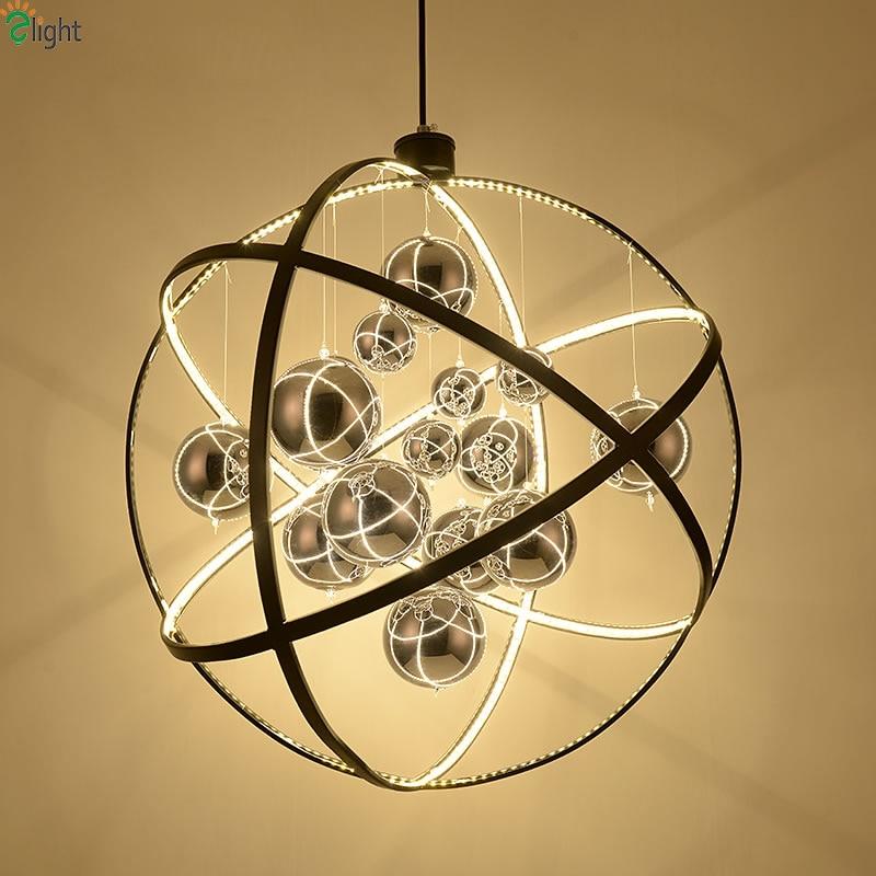 avize metal cam satın al - Nordic Globe Metal Led Pendant Chandeliers Lighting Lustre Chrome Glass Ball Dining Room Led Chandeliers Lamp Led Hanging Lights
