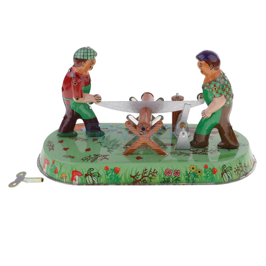 Novelty Farmers Sawmilling Activity Wind-up Clockwork Retro Classic Vintage Tin Toy Adult's Collectible Gifts