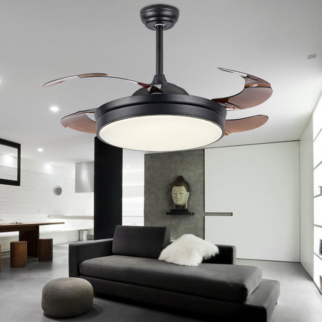 Invisible ceiling fan with lights 36/42 INCH 2 Color Changing light Modern LED invisible ceiling fan light remote control