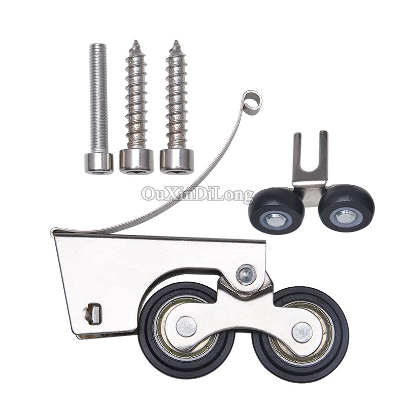HOT 4PCS Stainless Steel Sliding Door Roller Wheel Pulley Runner For Wardrobe Cupboard Cabinet Kitchen Door Up & Down Rollers