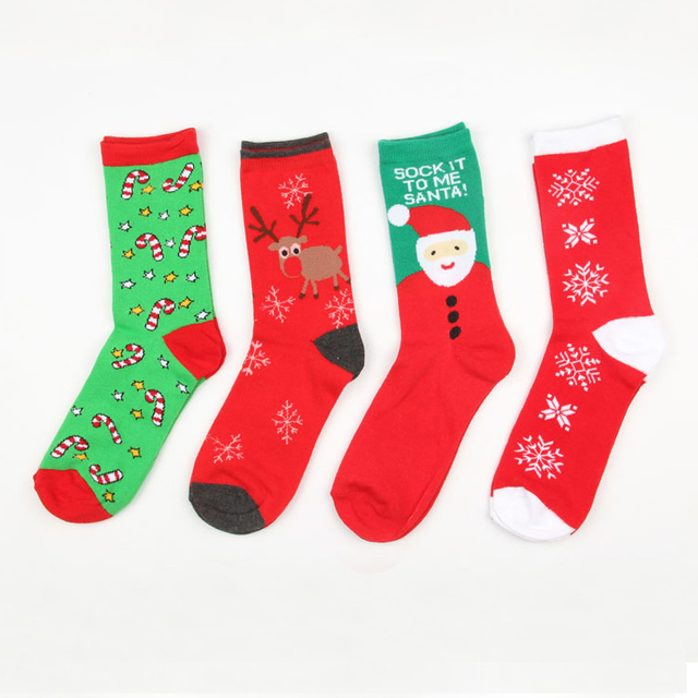 New Autumn winter new year Santa Claus Christmas Snow Elk Gift socks long sock cotton socks men women size EUR 35-43 SD15