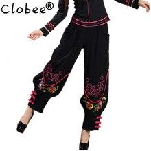 Женские китайские традиционные штаны-шаровары с вышивкой черные широкие шаровары с эластичной резинкой на талии льняные штаны повседневные осенние брюки