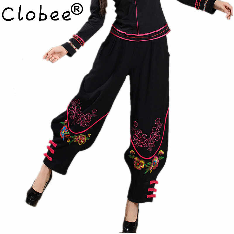 Women Chinese Traditional Embroidery Harem Pants 2017 Black Wide Leg Bloomers Elastic Waist Linen Pants Casual Autumn Trousers