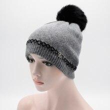 2017 Зимние женщин зимняя шапка мех Кролика шерсть вязаная шапка женский Девушки шапки с пом пом шляпы для женщин Skullies шапочки