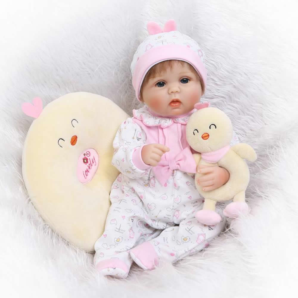 ФОТО Cartoon Style Reborn Baby Doll 17 Inch Soft Silicone Baby Newborn Alive Dolls Stuffed Safe Toy Gifts For Children NPK COLLECTION