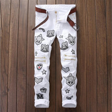 2016 Mens Skinny Knee Zipper Jeans White Ripped Patchwork Denim Pants Fashion Mens Clothes P4072