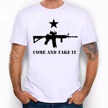 TEEHEART Men's Come and Take It T-Shirt Cool Machine Gun Print t shirt men summer White Tshirt  hipster Tees