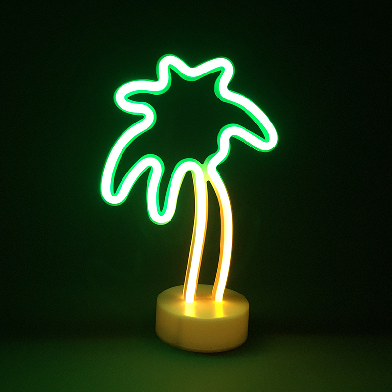 Palm tree night lighting festival decoration holiday party lights 3AA batteries operated led lamp neon rope light decor ropio love letters shape led night lights table lamp wall hanging neon light for festival wedding party decoration lighting