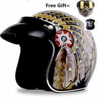 2019 new moto helmet indian print casco capacete motorcycle helmet 3/4 open face vintage motocross helmets S ~ XXL