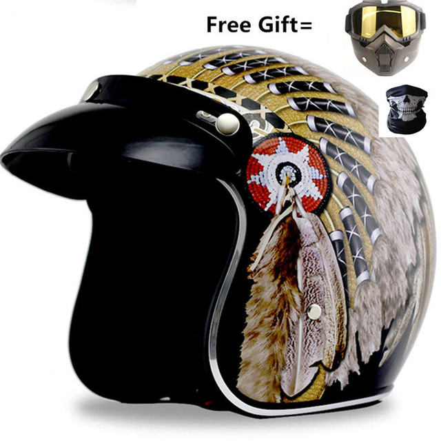 $ US $44.65 2019 new moto helmet indian print casco capacete motorcycle helmet 3/4 open face vintage motocross helmets S ~ XXL