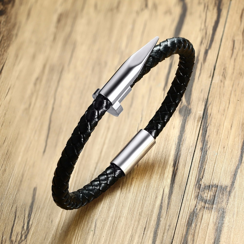 Unique Man Cuff Brackelts Twisted Nail Black Braided Leather Bracelet in Silver Tone Braslet Male Jewelry 8.6 inch