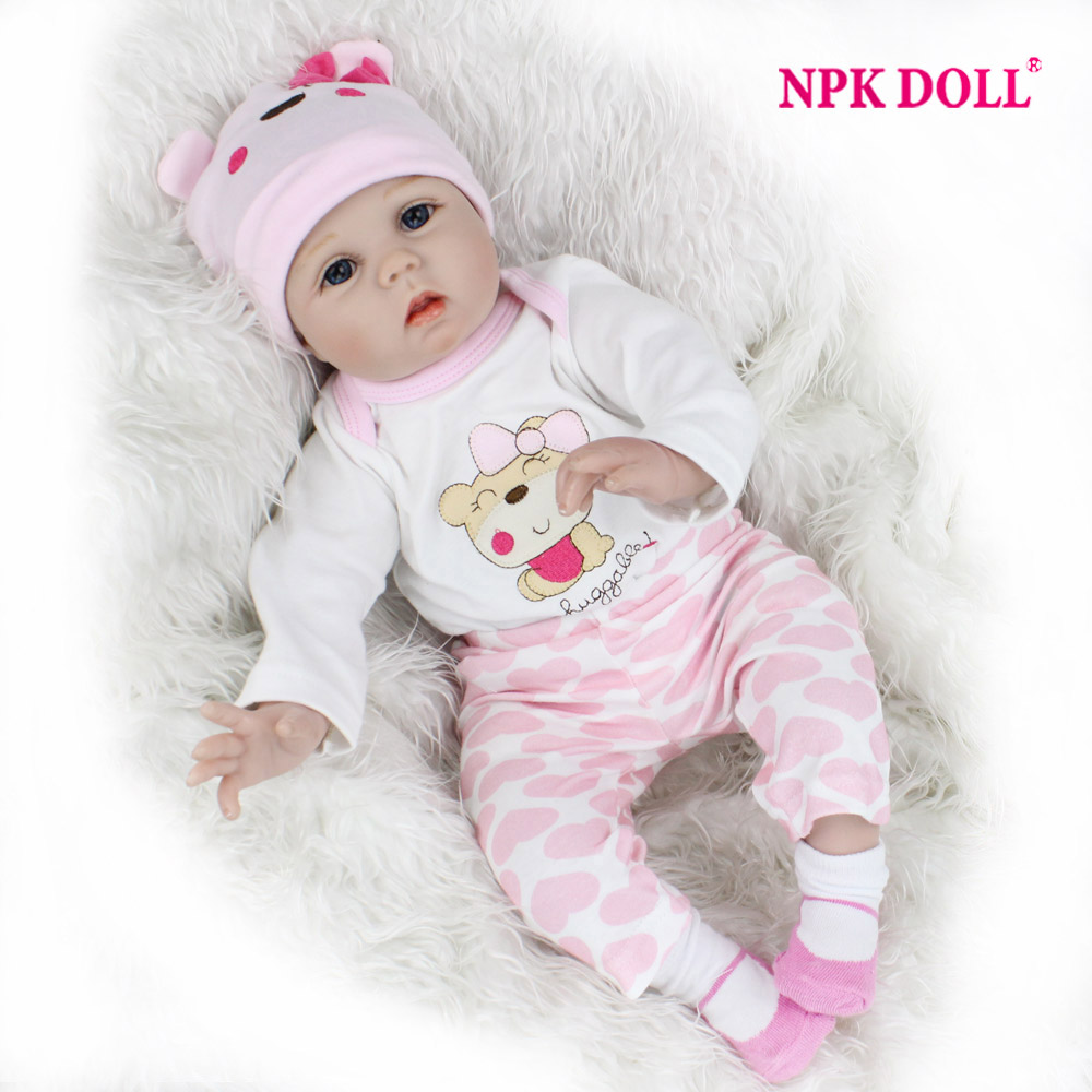 NPKDOLL 55cm Soft Silicone Doll Reborn Baby 22 Toy For Girls Newborn Girl Baby Birthday Gift For Child Bedtime Early Education handmade 18 cute china girl doll reborn baby doll sd bjd doll best bedtime playhouse toy enducational toy for girls as gift