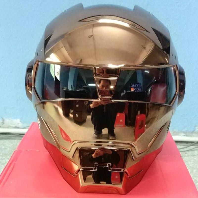 Masei moto scooter moto placca di rame iron man casco moto casco mezzo casco aperto del fronte del casco motocross