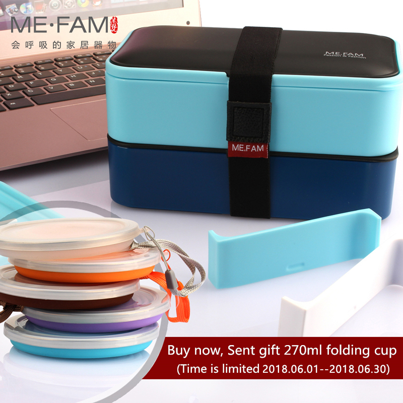 ME.FAM New 1200 ml Health Eco-Friendly PP Double-deck Lunch Box With Spoon Chopsticks Cloth Bag For Kids Adult Microwave Bento