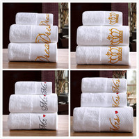 New MR MRS Lover 100%Cotton White Towel 3Pcs/Set Bath Hand Face Beach towels embroidery hotel home adult gift wholesale FG766 2