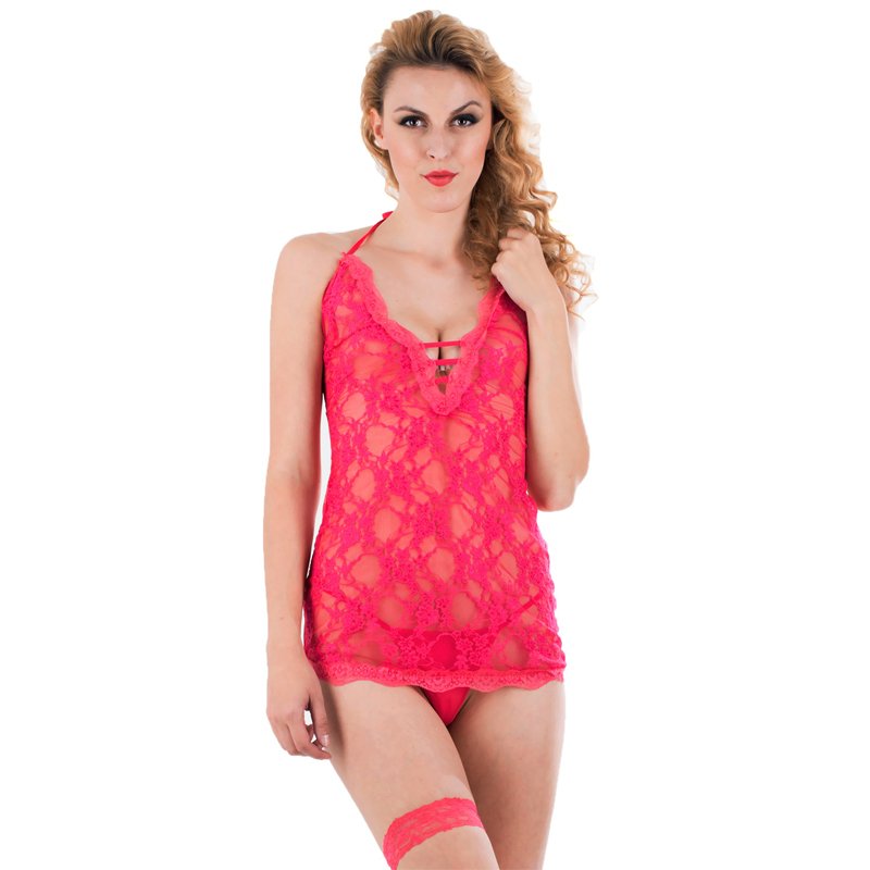 2016 Lace Halter Baby Dolls Hot Sale Hot Sale Halter Triangle <font><b>Cups</b></font> Hollow Out Lace Mini Sexy <font><b>Midnight</b></font> Babydoll w244197